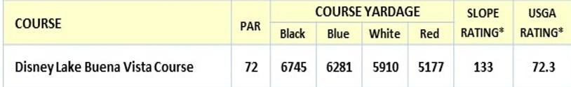 Buena Vista golf Stats